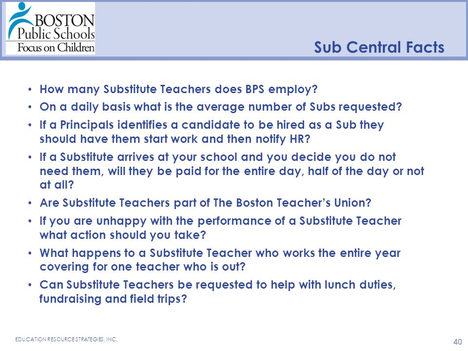 Sub Central Facts How many Substitute Teachers does BPS employ.