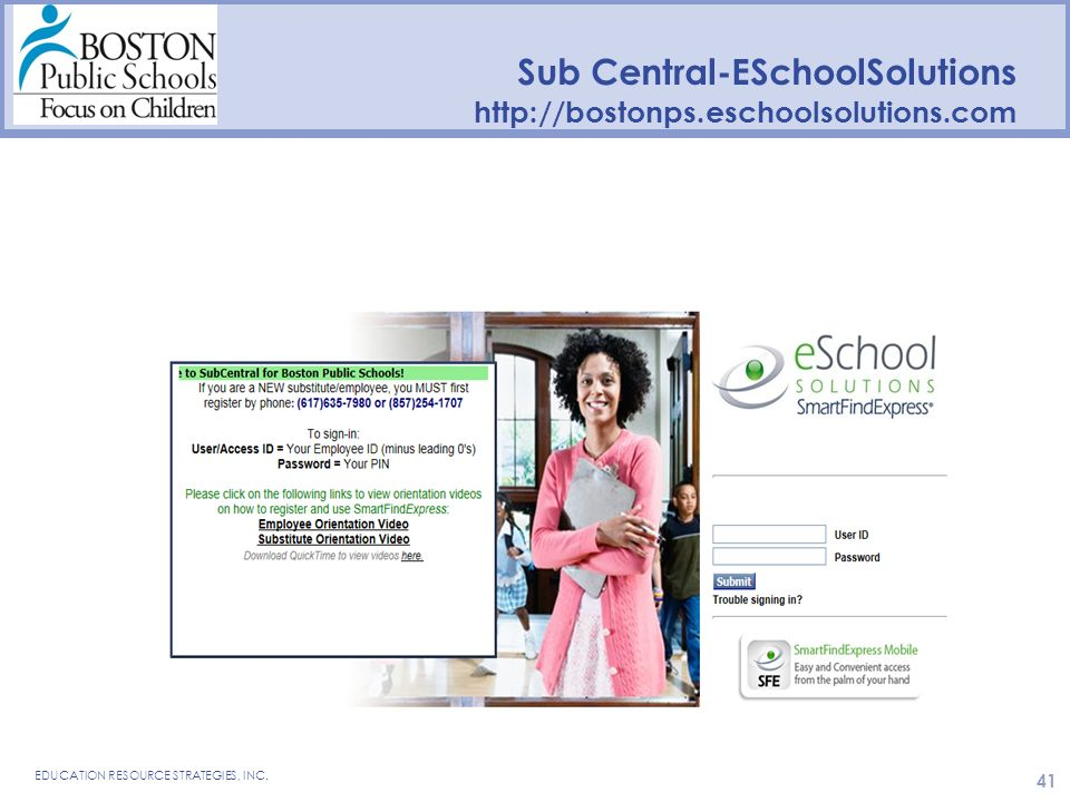 Sub Central-ESchoolSolutions   EDUCATION RESOURCE STRATEGIES, INC.