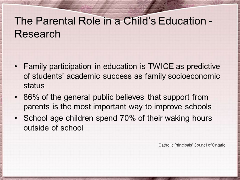 The Parental Role in a Child's Education - Research Family participation in education is TWICE as predictive of students' academic success as family socioeconomic status 86% of the general public believes that support from parents is the most important way to improve schools School age children spend 70% of their waking hours outside of school Catholic Principals' Council of Ontario