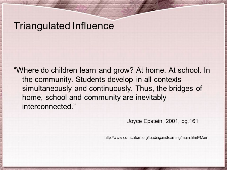 Triangulated Influence Where do children learn and grow.