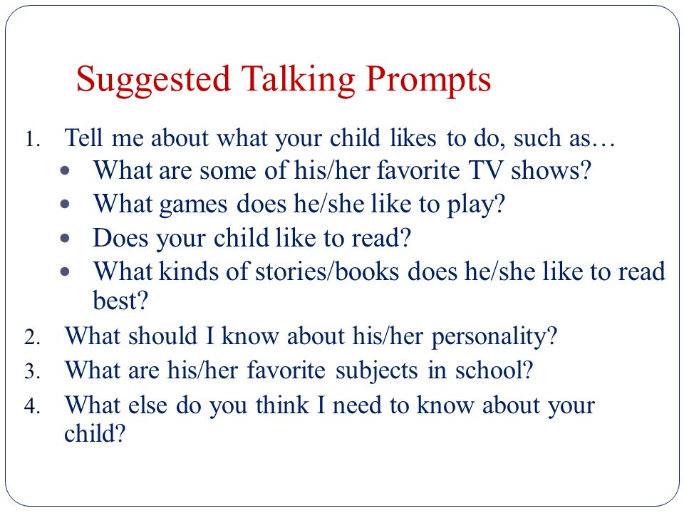 Suggested Talking Prompts 1.
