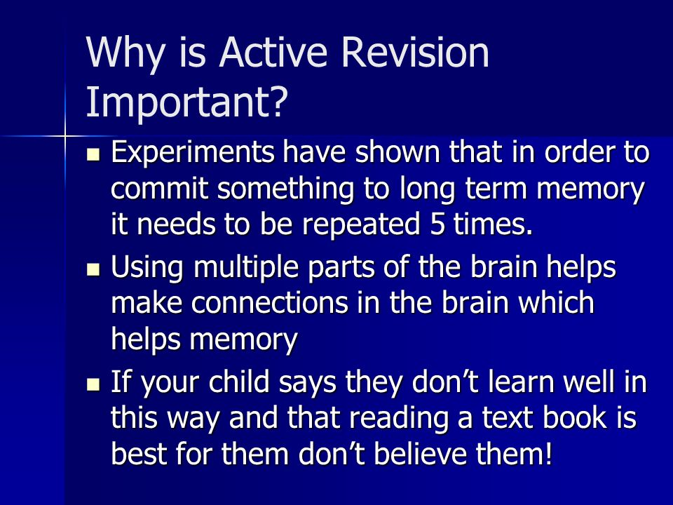 Why is Active Revision Important.