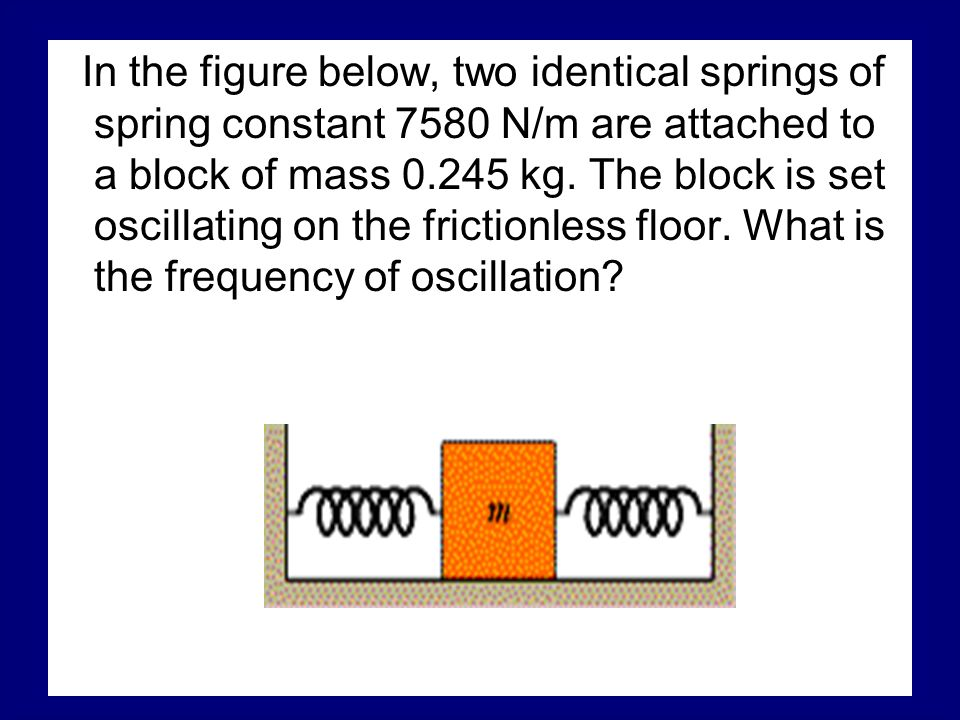 In the figure below, two identical springs of spring constant 7580 N/m are attached to a block of mass kg.