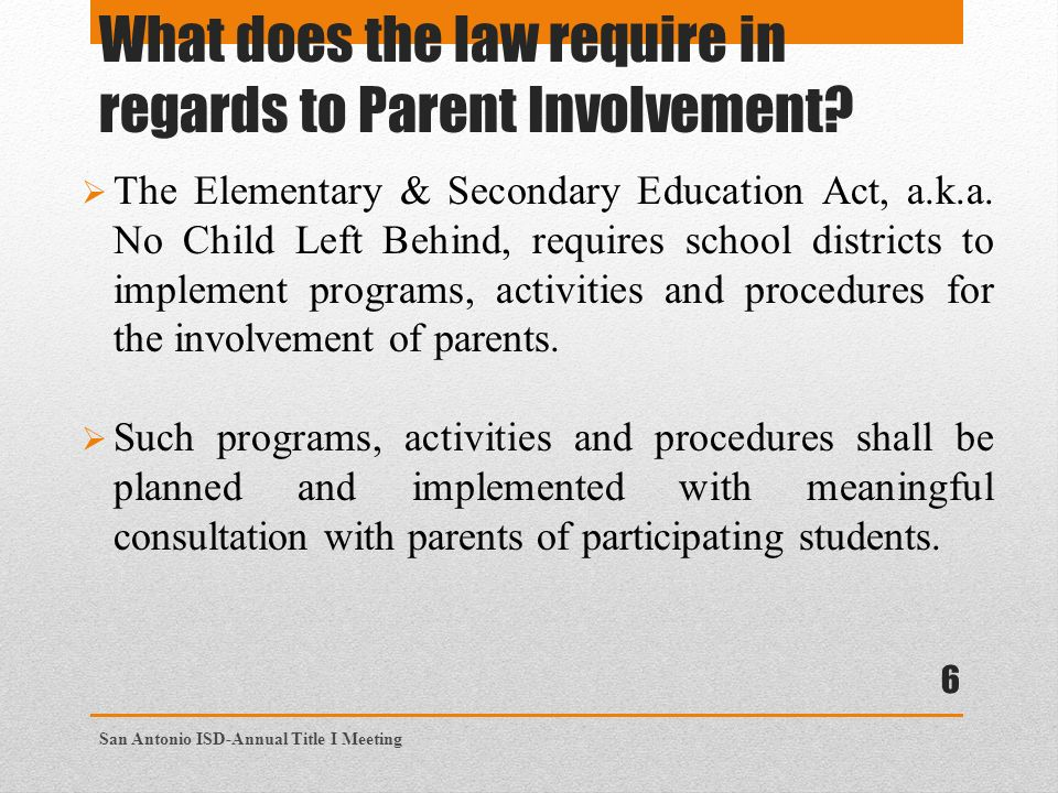 What does the law require in regards to Parent Involvement.