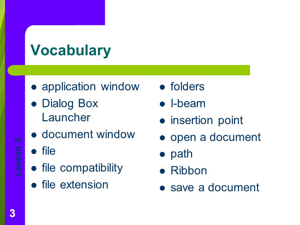 Lesson Vocabulary application window Dialog Box Launcher document window file file compatibility file extension folders I-beam insertion point open a document path Ribbon save a document