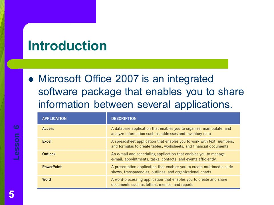 Lesson Introduction Microsoft Office 2007 is an integrated software package that enables you to share information between several applications.
