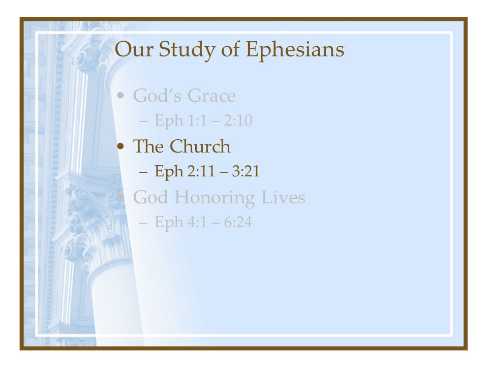 Our Study of Ephesians God's Grace –Eph 1:1 – 2:10 The Church –Eph 2:11 – 3:21 God Honoring Lives –Eph 4:1 – 6:24