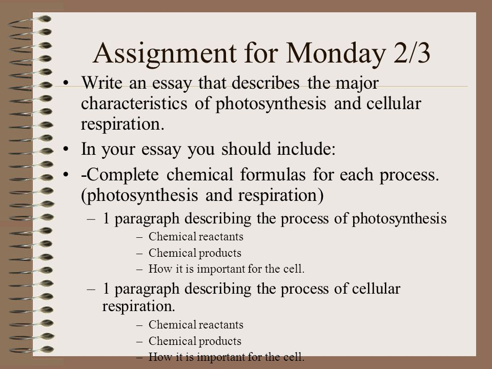Assignment for Monday 2/3 Write an essay that describes the major characteristics of photosynthesis and cellular respiration.