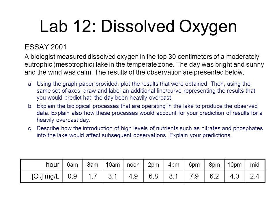 lab 12 dissolved oxygen essay 2001