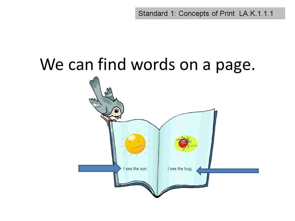 2 standard 1 concepts of print lak111 we can find words on a page i see the suni see the bug - Standard Cover Page