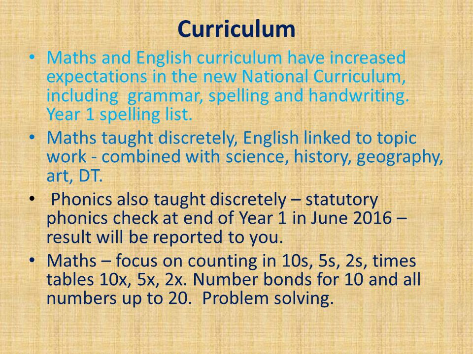 Curriculum Maths and English curriculum have increased expectations in the new National Curriculum, including grammar, spelling and handwriting.