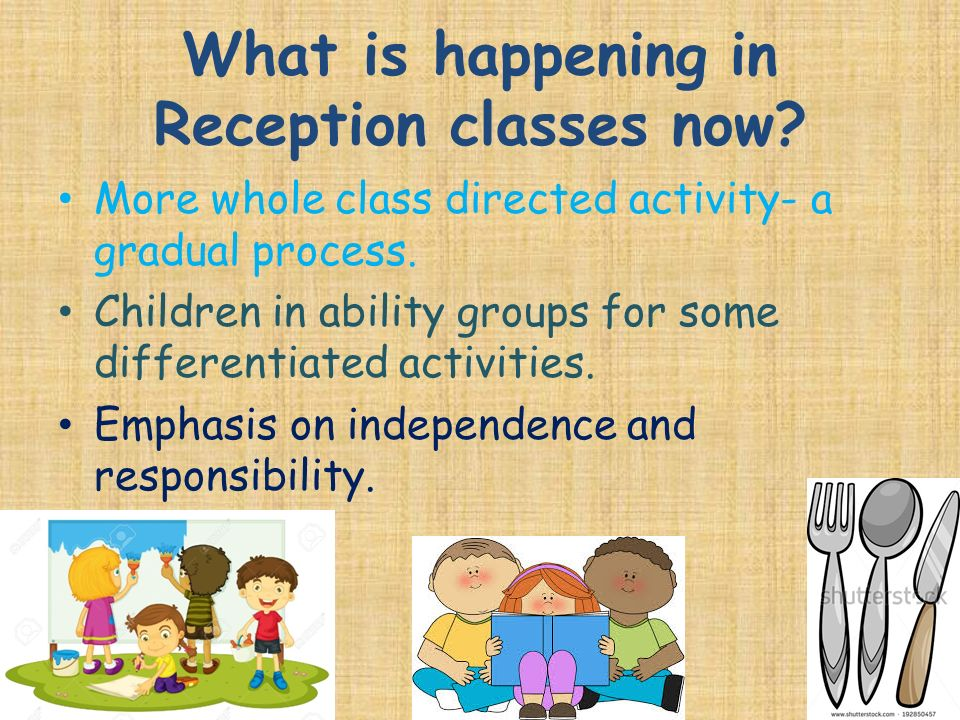 What is happening in Reception classes now. More whole class directed activity- a gradual process.