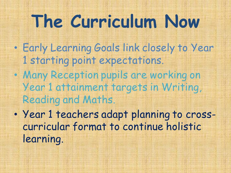 The Curriculum Now Early Learning Goals link closely to Year 1 starting point expectations.