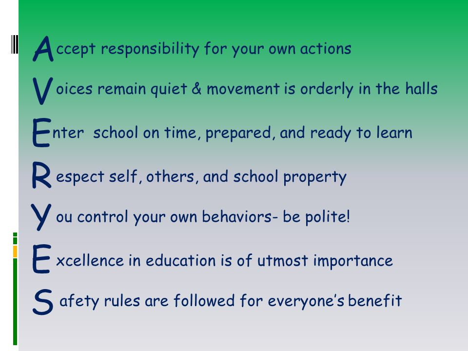 AVERYESAVERYES ccept responsibility for your own actions oices remain quiet & movement is orderly in the halls nter school on time, prepared, and ready to learn espect self, others, and school property ou control your own behaviors- be polite.