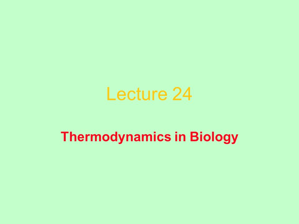 Lecture 24 Thermodynamics in Biology