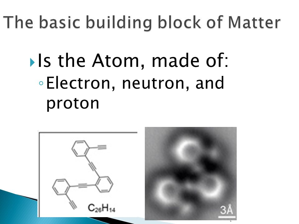3  Is the Atom, made of: ◦ Electron, neutron, and proton