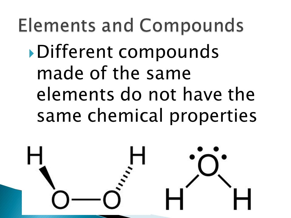  Different compounds made of the same elements do not have the same chemical properties 34