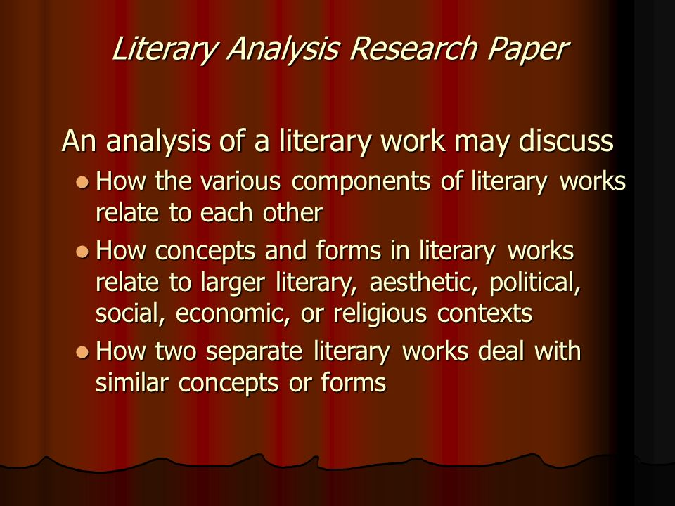 literary research paper format Close reading is deep analysis of how a literary text works it is both a reading process and something you include in a literary analysis paper, though in a refined form fiction writers and poets build texts out of many central components, including subject, form, and specific word choices.