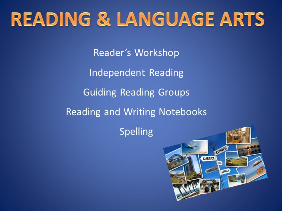 Reader's Workshop Independent Reading Guiding Reading Groups Reading and Writing Notebooks Spelling