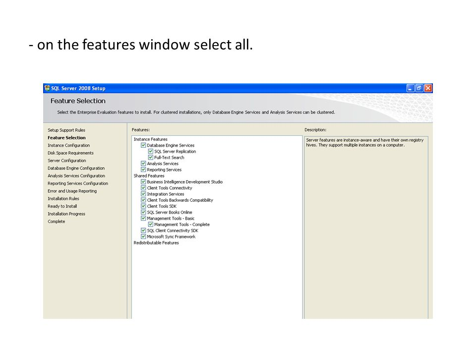 - on the features window select all.