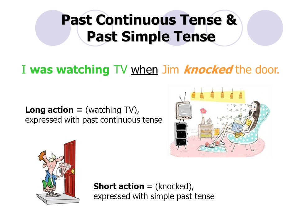 Past Continuous Tense & Past Simple Tense Long action = (watching TV), expressed with past continuous tense Short action = (knocked), expressed with simple past tense I was watching TV when Jim knocked the door.