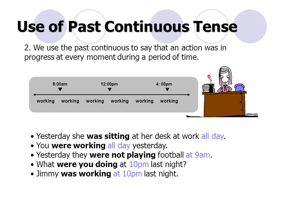 Use of Past Continuous Tense 2.
