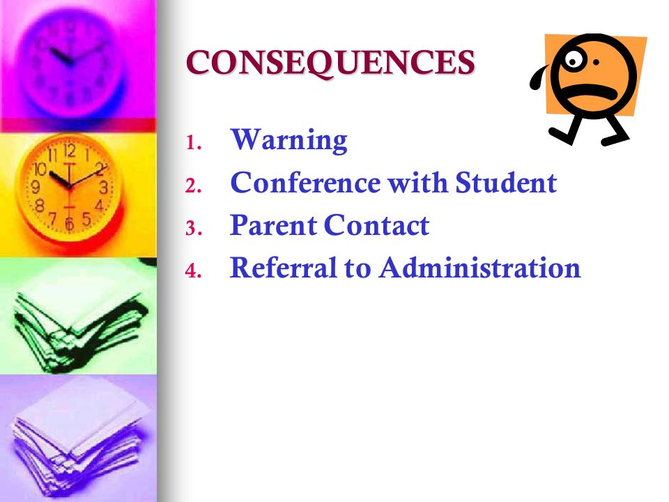 CONSEQUENCES Warning Conference with Student 3.