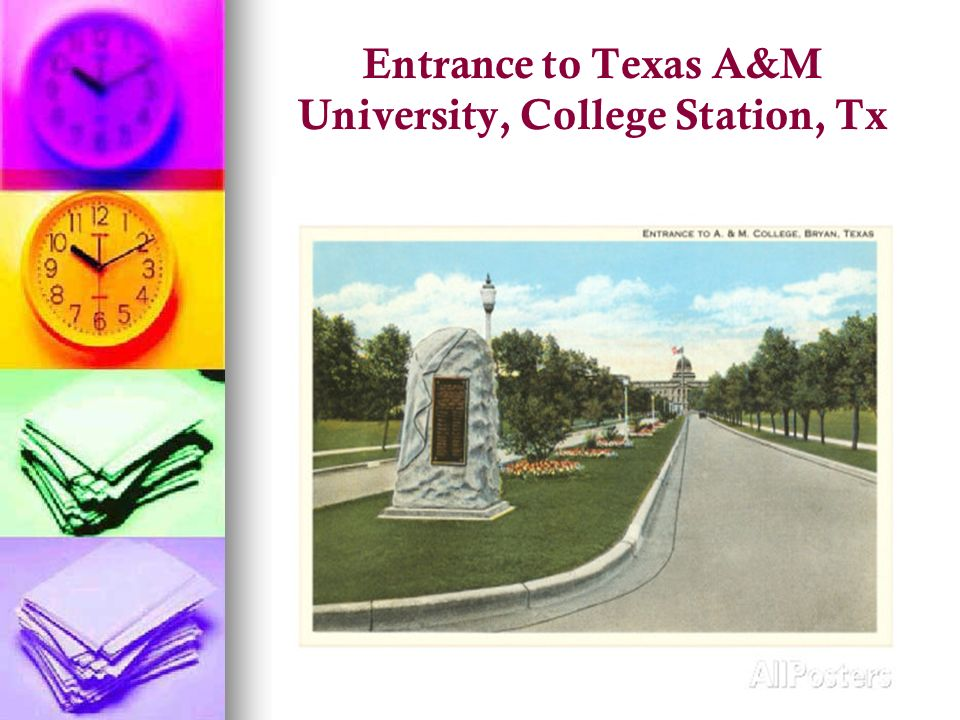 Entrance to Texas A&M University, College Station, Tx