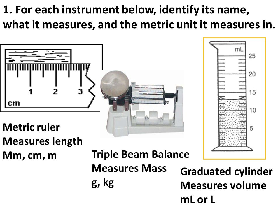 FINAL EXAM REVIEW Metric ruler Measures length Mm cm m Triple – Reading a Triple Beam Balance Practice Worksheet