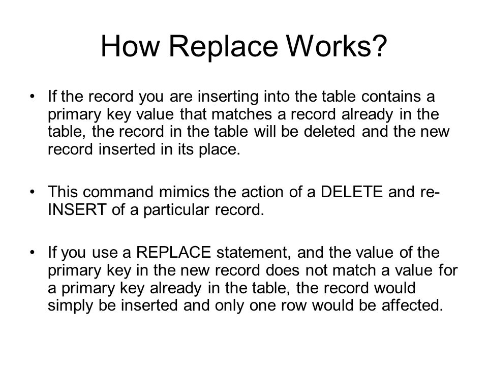 How Replace Works.