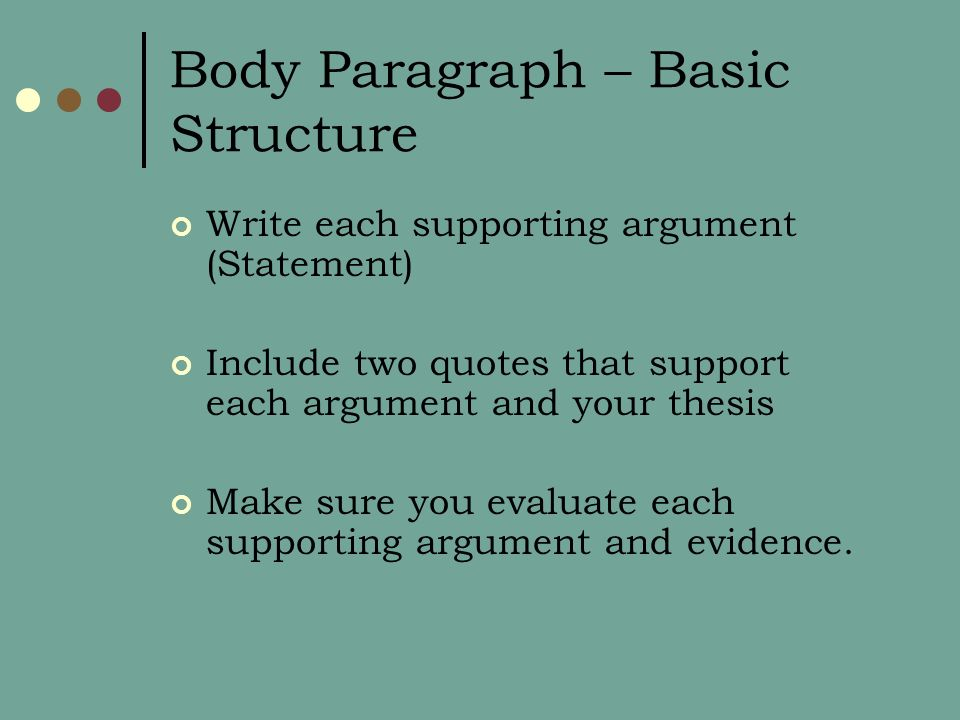 Body Paragraph – Basic Structure Write each supporting argument (Statement) Include two quotes that support each argument and your thesis Make sure you evaluate each supporting argument and evidence.