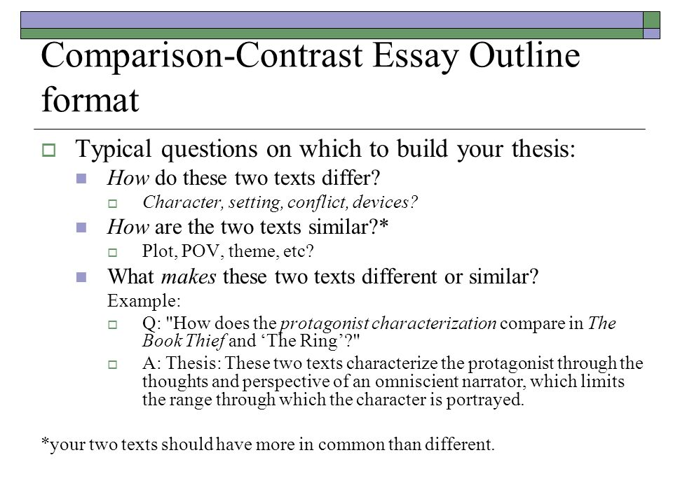 comparison outline Compare and contrast essay outline example - get the required coursework here and put aside your worries papers and resumes at most affordable prices use this.