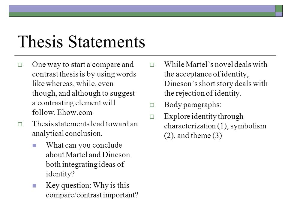 start thesis statement compare contrast paper
