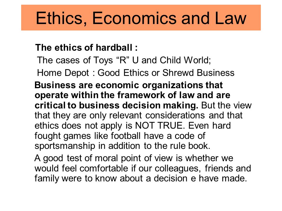 making ethical decisions regarding home depot and lowes