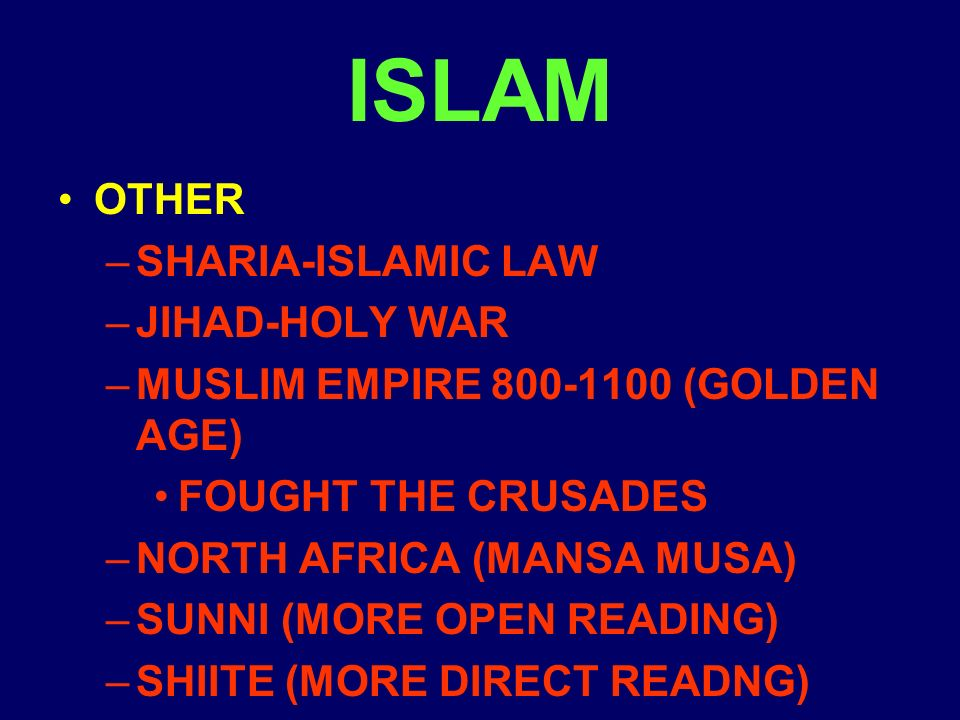 ISLAM OTHER –SHARIA-ISLAMIC LAW –JIHAD-HOLY WAR –MUSLIM EMPIRE (GOLDEN AGE) FOUGHT THE CRUSADES –NORTH AFRICA (MANSA MUSA) –SUNNI (MORE OPEN READING) –SHIITE (MORE DIRECT READNG)
