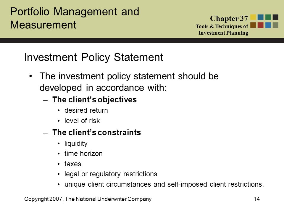 Portfolio Management And Measurement Chapter  Tools  Techniques