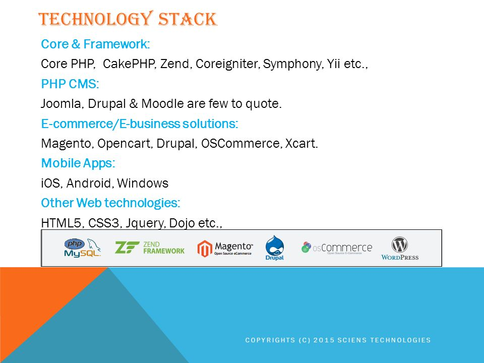 Core & Framework: Core PHP, CakePHP, Zend, Coreigniter, Symphony, Yii etc., PHP CMS: Joomla, Drupal & Moodle are few to quote.