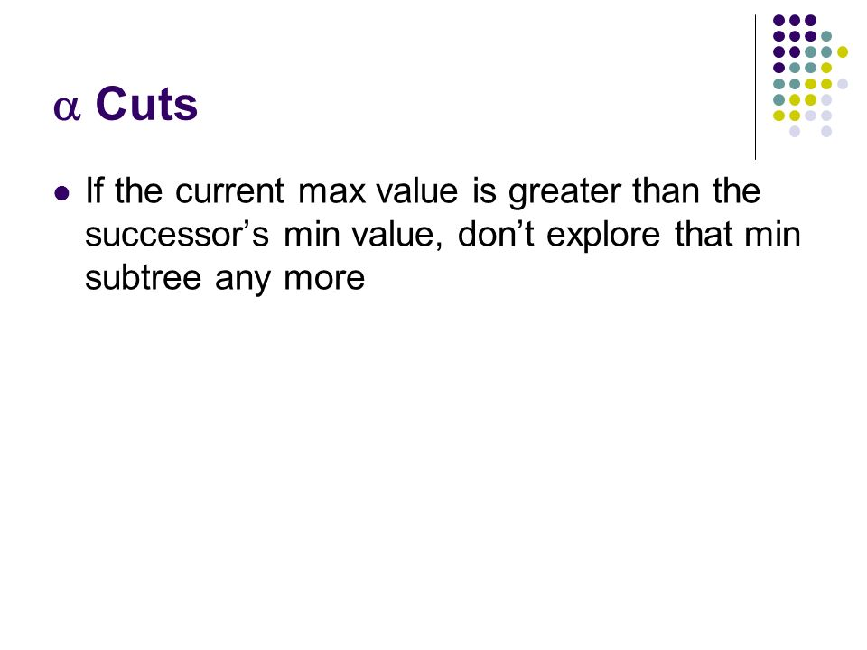 Cuts If the current max value is greater than the successor's min value, don't explore that min subtree any more