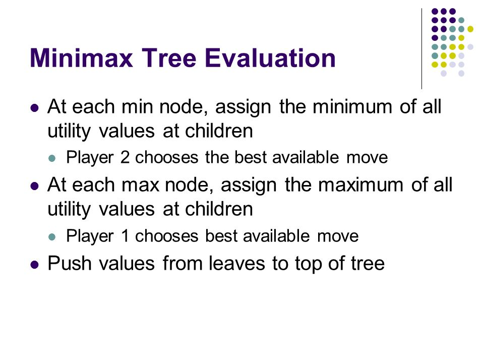 Minimax Tree Evaluation At each min node, assign the minimum of all utility values at children Player 2 chooses the best available move At each max node, assign the maximum of all utility values at children Player 1 chooses best available move Push values from leaves to top of tree