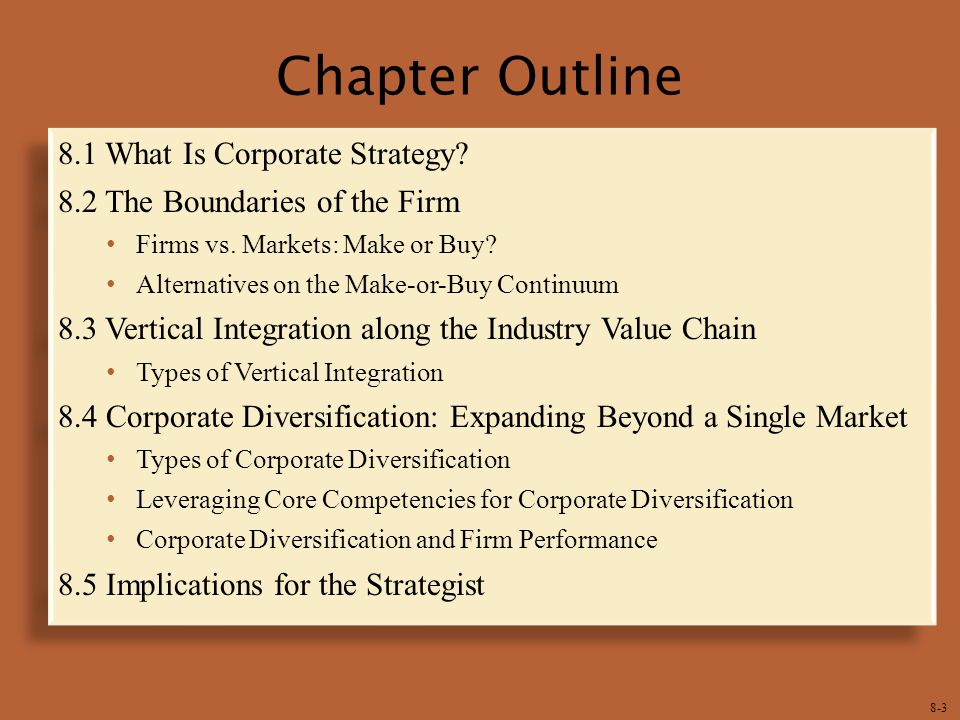 8-3 Chapter Outline 8.1 What Is Corporate Strategy.