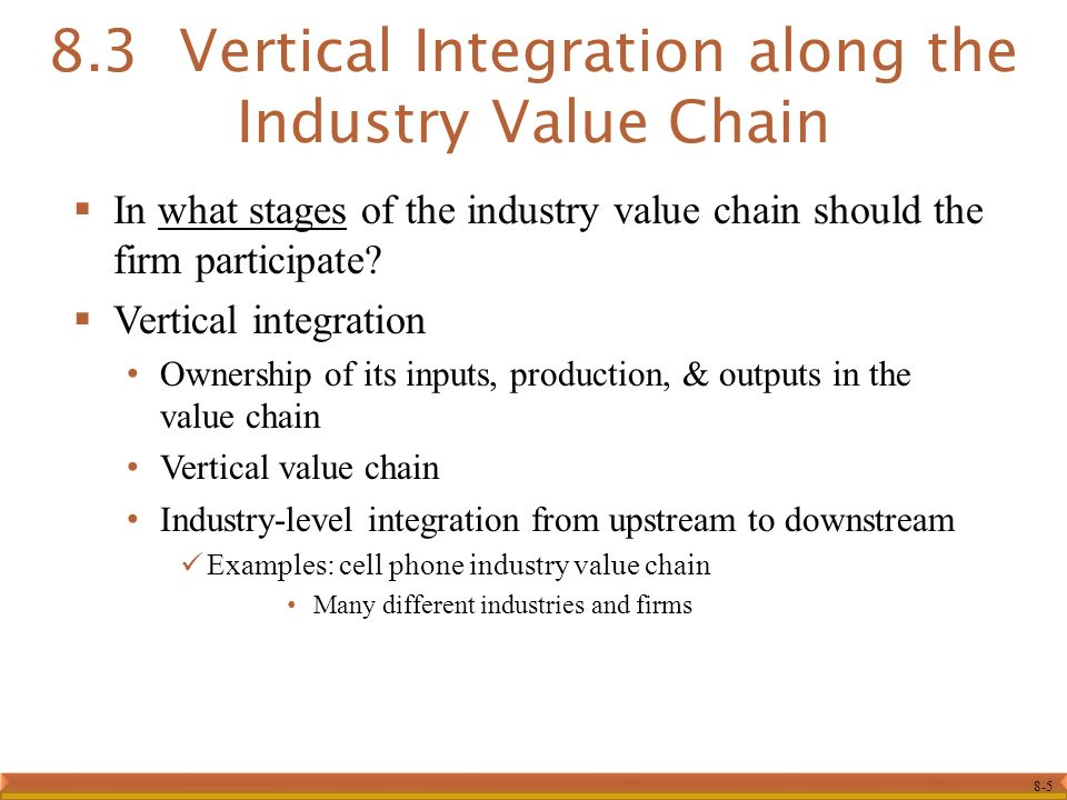 8-5  In what stages of the industry value chain should the firm participate.