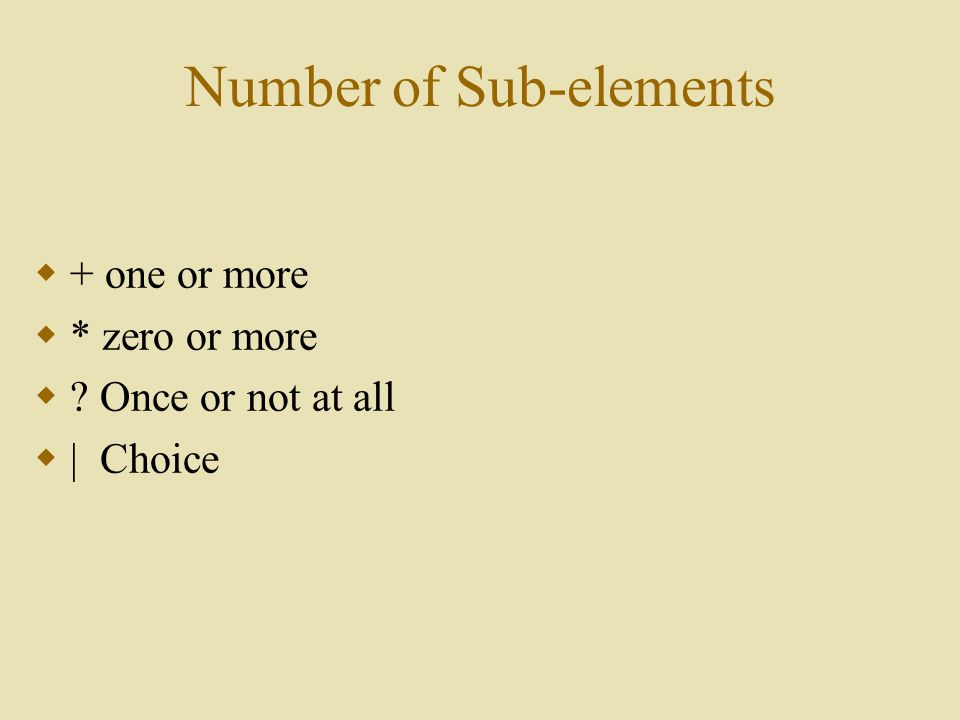 Number of Sub-elements  + one or more  * zero or more  Once or not at all  | Choice