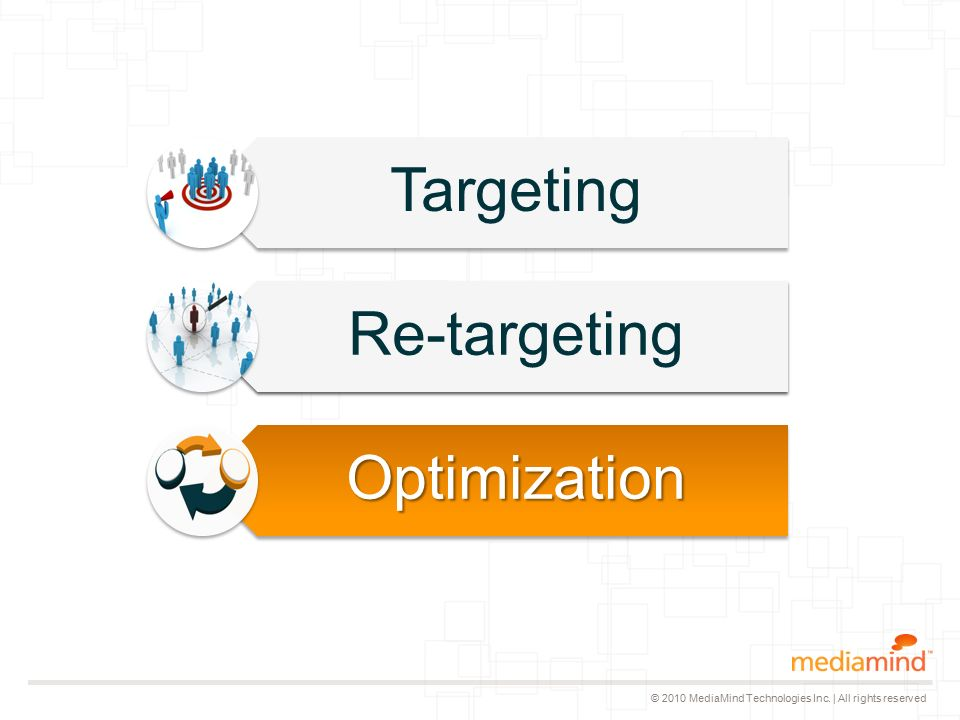© 2010 MediaMind Technologies Inc. | All rights reserved Targeting Re-targeting Optimization