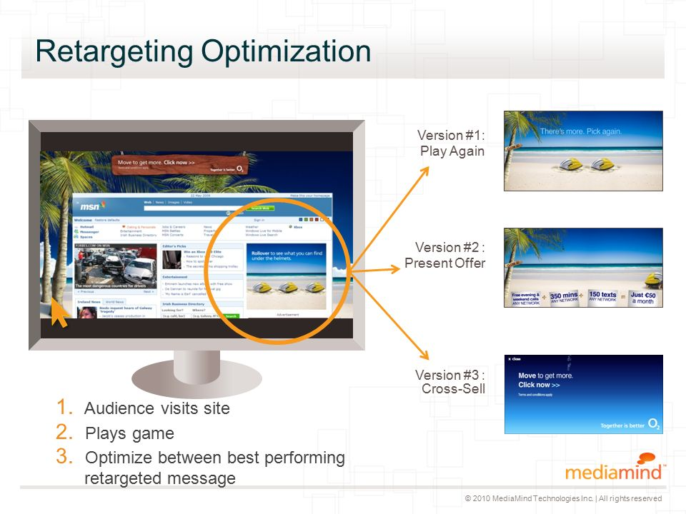 © 2010 MediaMind Technologies Inc. | All rights reserved Retargeting Optimization 1.