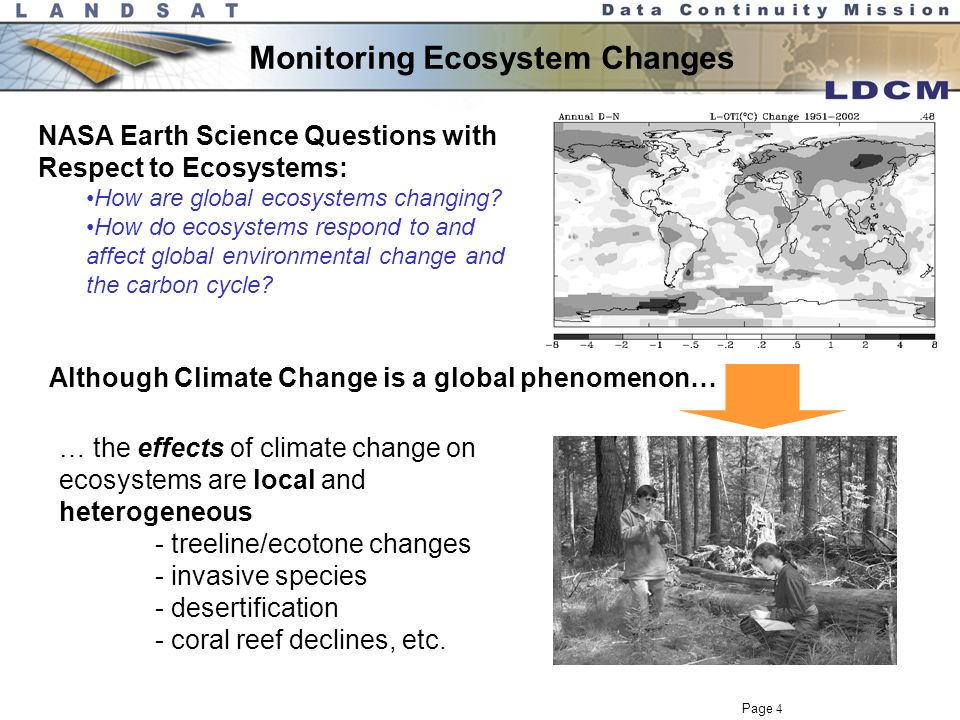 Page 3 Landsat Science Themes Monitoring Ecosystem Changes Climate Dynamics Quantifying Water and Energy Budgets Quantifying Earth's Carbon Cycle Together with other Earth Observing Satellite instruments, Landsat plays a critical role in NASA's studies of Earth.
