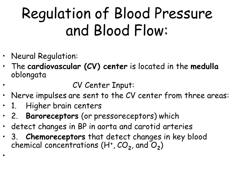 Regulation of Blood Pressure and Blood Flow: Neural Regulation: The cardiovascular (CV) center is located in the medulla oblongata CV Center Input: Nerve impulses are sent to the CV center from three areas: 1.Higher brain centers 2.Baroreceptors (or pressoreceptors) which detect changes in BP in aorta and carotid arteries 3.Chemoreceptors that detect changes in key blood chemical concentrations (H +, CO 2, and O 2 )