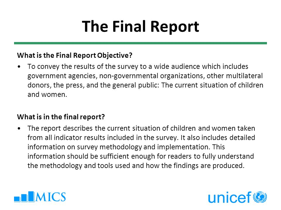 9 The Final Report What ...