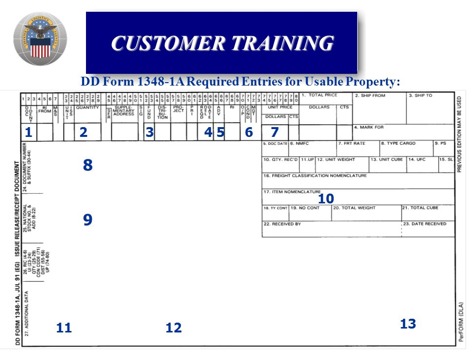 DD Form A Required Entries for Usable Property: CUSTOMER TRAINING 3 13