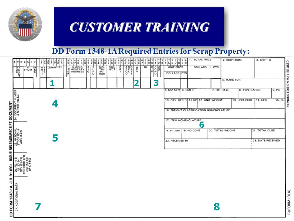 DD Form A Required Entries for Scrap Property: CUSTOMER TRAINING