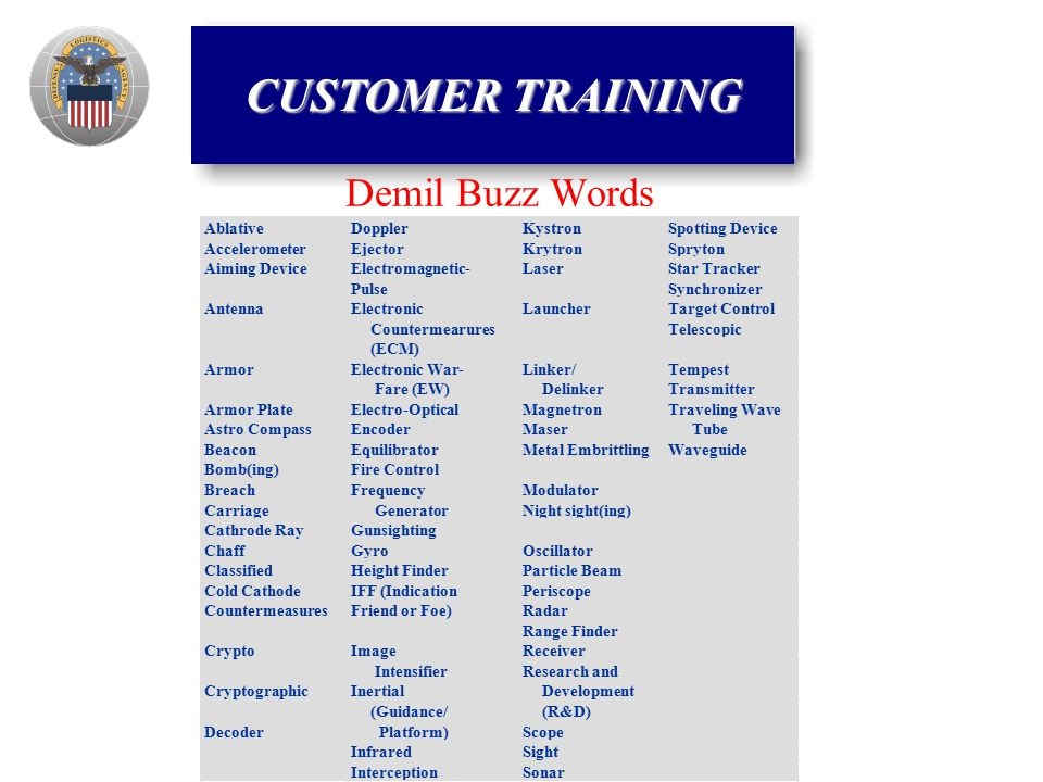 Demil Buzz Words CUSTOMER TRAINING